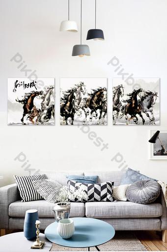 حصان للنجاح ثمانية خيول رسم غرفة المعيشة دراسة الديكور اللوحة الأسرة الديكور والنموذج قالب PSD