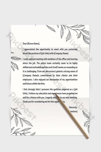 Document de mot papier lettre simple frontière plante linéaire dessiné à la main noire Word Modèle DOCX