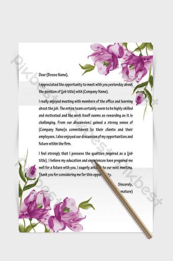 Document de mot papier lettre européenne belle bordure de fleurs Word Modèle DOCX