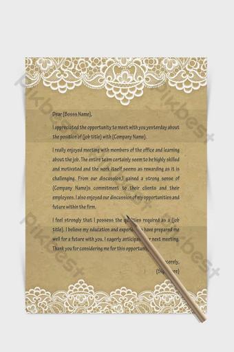 Document de mot de lettre européenne de bordure de dentelle de papier kraft Word Modèle DOCX