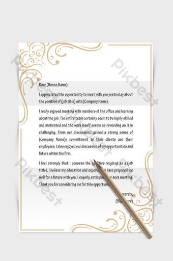 Document de mot de papier de lettre européenne de frontière de modèle simple d'or gracieux Word Modèle DOCX