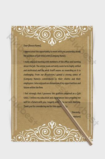 Document de mot de lettre européenne de bordure de papier kraft Word Modèle DOCX