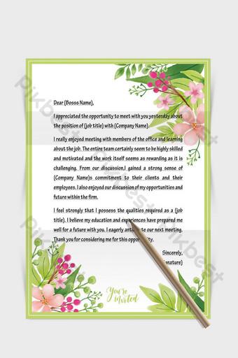 Document de mot de papier de lettre européenne de bordure de fleur de plante fraîche verte Word Modèle DOCX