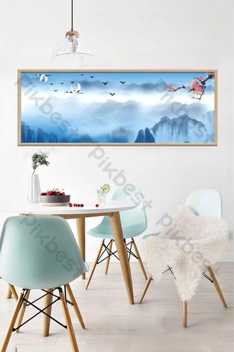 新中式現代客廳書房裝飾畫無框畫 裝飾·模型 模板 PSD