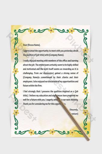 Document de mot papier lettre européenne frontière plante fleur Word Modèle DOCX