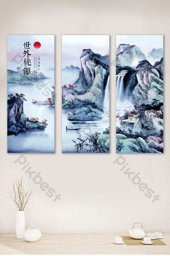 世外桃源水墨客廳書房三聯畫無框畫裝飾 裝飾·模型 模板 PSD
