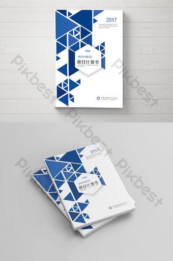 conception de couverture de livre de plan de projet d'entreprise polygonale bleu haut de gamme Modèle PSD