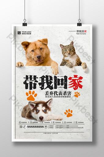 照顧動物的流浪貓和狗帶我回家慈善海報 模板 PSD