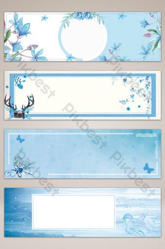 fondo de cartel de banner pintado a mano fresco pequeño azul Fondos Modelo PSD
