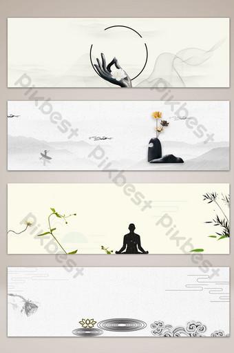 文學手繪佛教意境橫幅海報背景 背景 模板 PSD