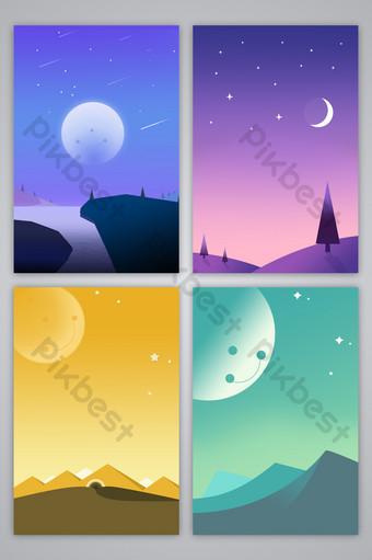 ومن ناحية رسم الكرتون الطازجة رومانسية اللون سماء الليل تصميم صورة خلفية النجوم خلفيات قالب PSD