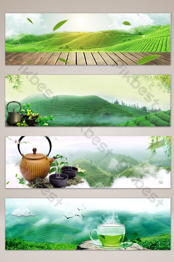 Literary and fresh tea picking season banner poster background Backgrounds Template PSD