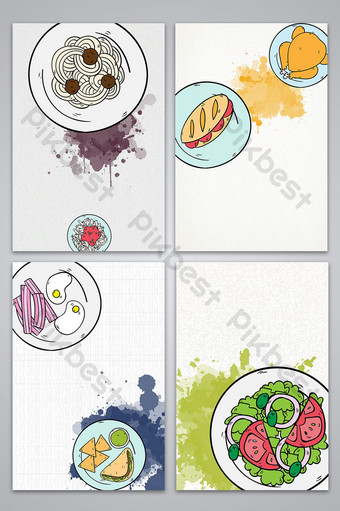 vector doodle drawing gourmet season western food poster background image Backgrounds Template AI