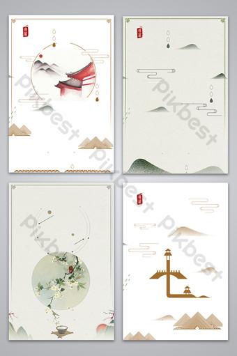 簡約典雅的禪宗文學古風現代中國復古海報背景圖片 背景 模板 PSD