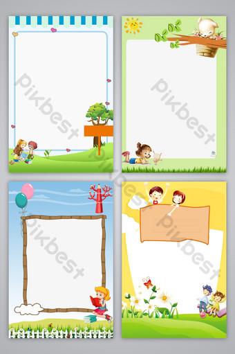 幼兒園課程表兒童手繪卡通成長記錄展板設計背景圖 背景 模板 PSD