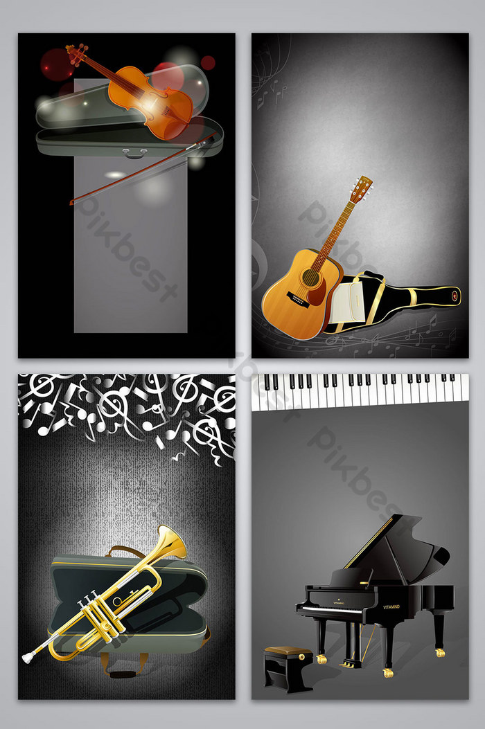 vector style music community playing musical instrument poster background image