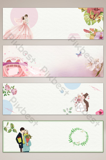 fondo de cartel de banner simple de pareja de boda Fondos Modelo PSD