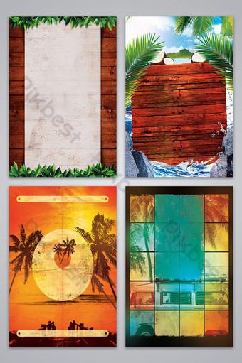imagen de fondo del diseño del estilo retro del árbol de coco del verano Fondos Modelo PSD