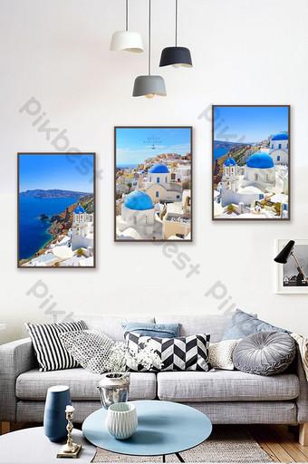 Beautiful blue Greek Aegean Sea Santorini beautiful decorative painting Decors & 3D Models Template PSD