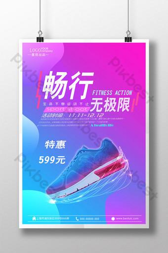 cartel de promoción de publicidad creativa de zapatillas Modelo PSD