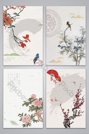 النمط الصيني رسمت باليد زهرة الحبر صورة الخلفية خلفيات قالب AI