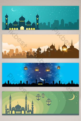 النمط الإسلامي العمارة الحضرية ليلة عرض راية التوضيح خلفيات قالب AI