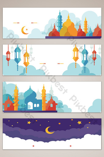 mapa de fondo de banner de silueta de edificio de ciudad de estilo islámico Fondos Modelo AI