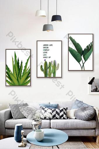 pintura de plantas de hoja simple nórdica decorativa Decoración y modelo Modelo PSD