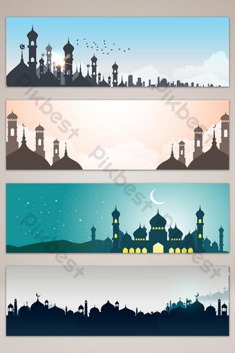 النمط الإسلامي العمارة الحضرية نجمة راية التوضيح خلفيات قالب AI