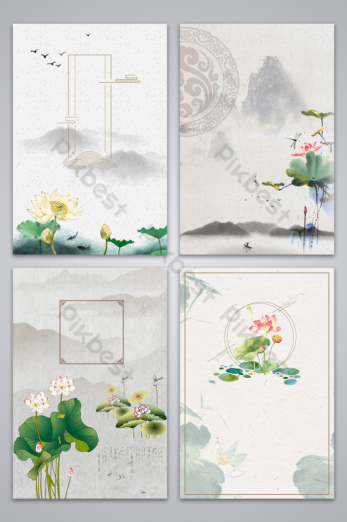chinese style hand painted ink lotus background image