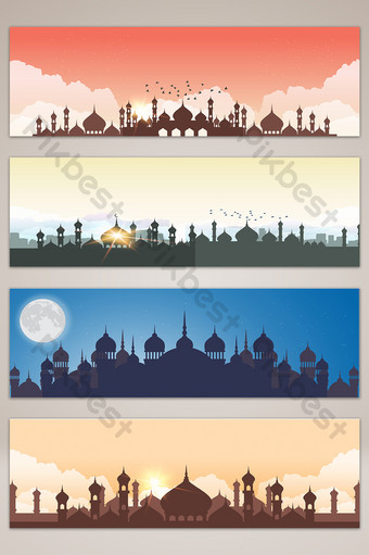 ilustración de banner de silueta de edificio de ciudad de estilo islámico Fondos Modelo AI