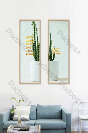 pintura de planta de hoja simple nórdica doble decorativa Decoración y modelo Modelo PSD