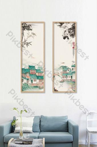 中國風水墨風格無框畫書房客廳裝飾展板 裝飾·模型 模板 PSD