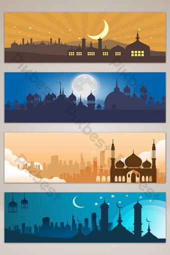 النمط الإسلامي العمارة الحضرية ليلة راية التوضيح خلفيات قالب AI