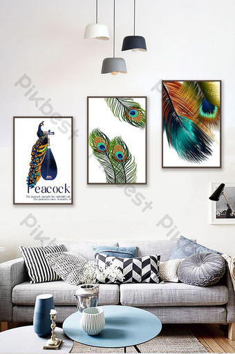 peacock series home painting Decors & 3D Models Template PSD