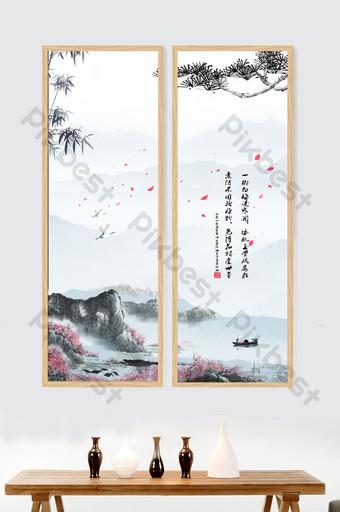 中國意境山水水墨無框畫書房客廳裝飾畫 裝飾·模型 模板 PSD