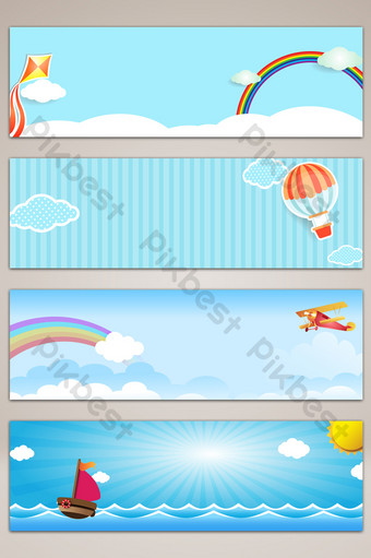 fondo azul de la bandera del cartel de las nubes del cielo de la historieta Fondos Modelo PSD