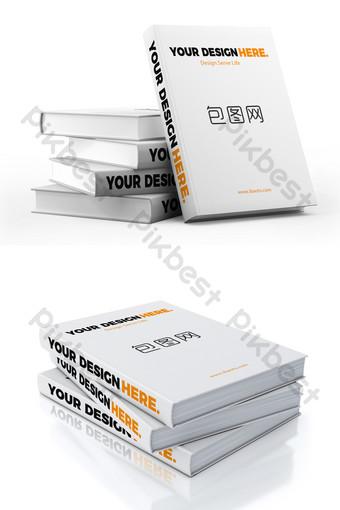 Mockup sách giới thiệu xếp chồng lên nhau nền trắng đơn giản Bản mẫu PSD