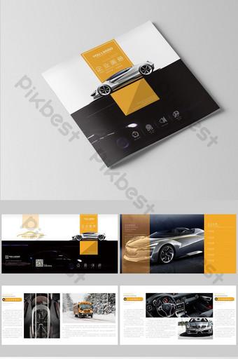 كتيب السيارة السوداء الإبداعية تصميم غلاف العلامة التجارية للشركات قالب AI