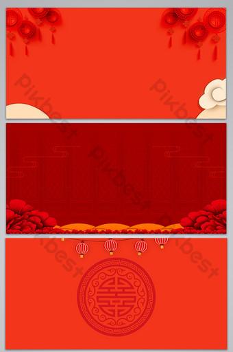 fondo de diseño de año nuevo de tema rojo de estilo chino simple Fondos Modelo PSD
