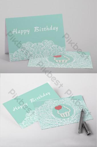 Modèle Word de carte de voeux de carte postale d'anniversaire frais vert menthe Word Modèle DOCX