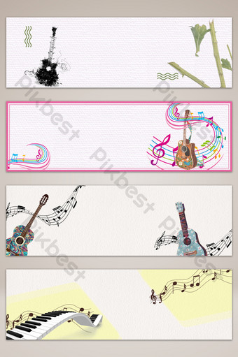 fondo de cartel de banner de dibujos animados fresco pequeño música nota musical Fondos Modelo PSD