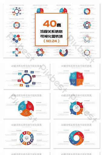 40 set diagram ppt informasi hubungan proses melingkar PowerPoint Templat PPTX