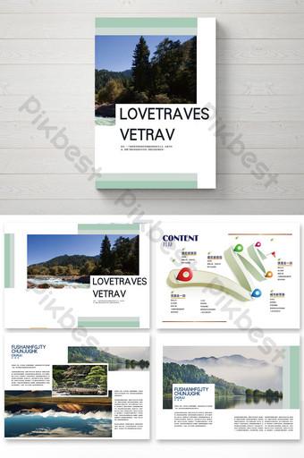 Paquet de conception de brochure de style de voyage d'arbre Modèle AI