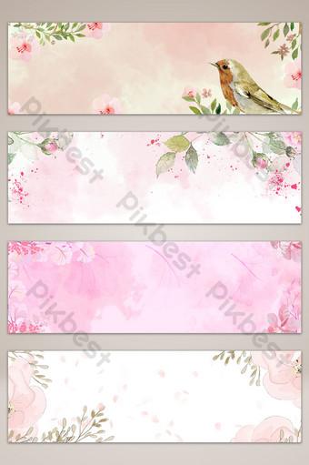 imagen de fondo de la bandera del cartel dibujado mano rosa pequeña flor fresca Fondos Modelo PSD