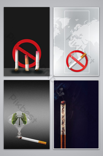Simple public service advertisement refusal to smoke background map Backgrounds Template PSD