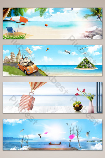 Romantic and fresh seaside play banner poster background Backgrounds Template PSD