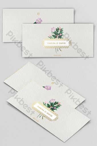 Petite carte de voeux d'invitation de mariage de style floral peint à la main fraîche Modèle PSD