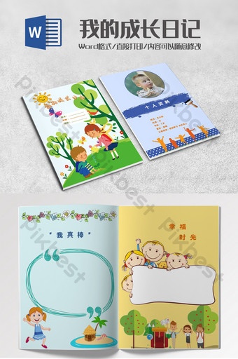 Fresh And Lovely Kindergarten Life Picture Book Word Template Word Doc Free Download Pikbest