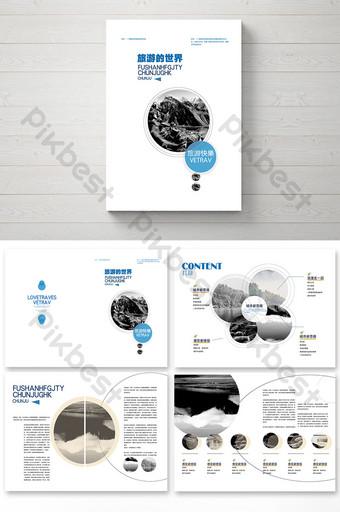 Conception de paquet de brochure de voyage de style simple Modèle AI